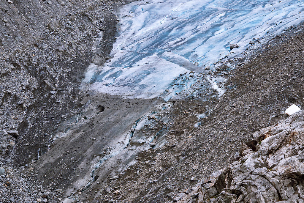The bottom of the Folgefonna glacier in Norway, with stones, rocks, pebbles and dirt on the surface